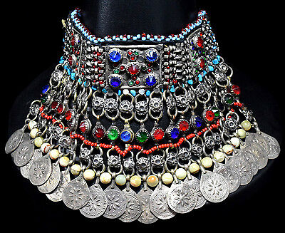 Afghan Kuchi Choker Necklace Chained Tribal Jewelry Bohemian Hippie Gypsy Boho