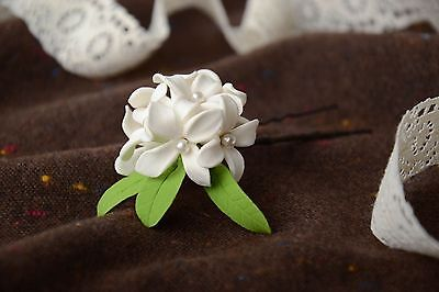 Handmade Decorative Metal Hair Pin With Tender White Self Hardening Clay Flower