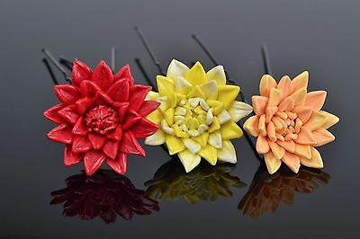 Beautiful Handmade Designer Polymer Clay Flower Hairpins 3 Pieces Colorful