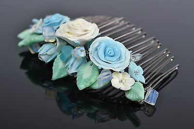 Handmade Decorative Hair Comb With Polymer Clay Blue Flowers And Moon Stone
