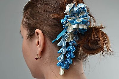 Beautiful Handmade Designer White And Blue Satin Ribbon Flower Hairpin