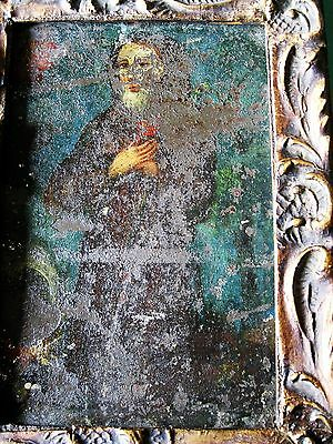 Original Antique Retablo On Tin San Francisco De Paola With Antique Frame
