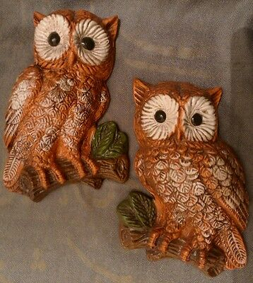 2 Vintage Plaster Owl Wall Plaques