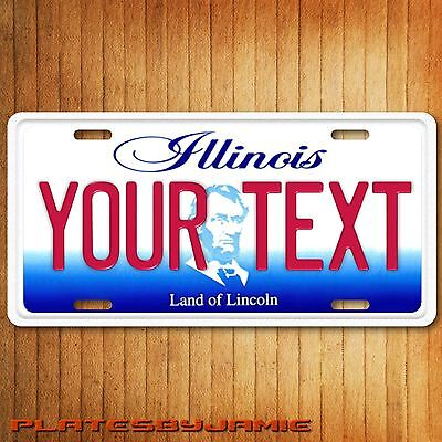 Illinois ANY TEXT Your Customizable Text Aluminum Vanity License Plate Tag New
