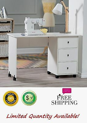 Sewing Machine Rolling Cart Folding Table Desk Mobile Crafts Arts Cabinet Drawer