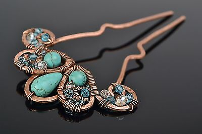 Handmade Wire Wrap Copper Hairpin With Turquoise