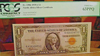 """1935A Dollar YELLOW SEAL NOTE Choice Uncirculate """"PCGS63"""""""