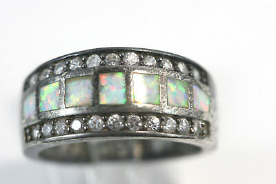 D046 Faux Opal Band Ring Sterling 6.1g size 8 1/4