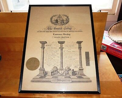 Masons The Grand Lodge Grand Master Framed Certificate - Vancouver B.C. 1953