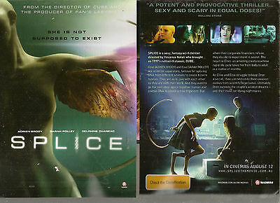 SPLICE  horror movie FLYER  x2   pic shows front and back  NEW