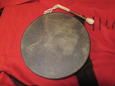 "New 18"" Native American Traditional Style Elk skin Drum and Drum Beater Stick"