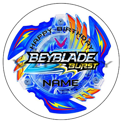 Beyblade Burst Personalised Edible Kids Party Cake Decoration Topper Round Image