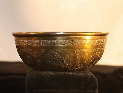Vintage Antique Tibetan Small Brass Water Bowl Cup Vessel 3.5""