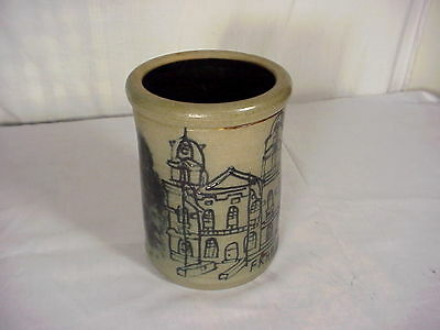Maple City Pottery Stoneware Crock With Blue Decorated Franklin Pa Court House