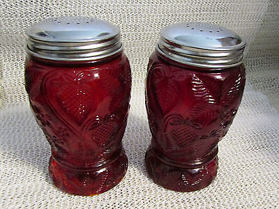 "Strawberry Floral... 5"" High Ruby Red Salt & Pepper Shakers"