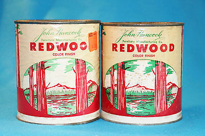 2 Vintage John Hancock Redwood Color Finish Paint Cans - 1/4 Gallon - Used
