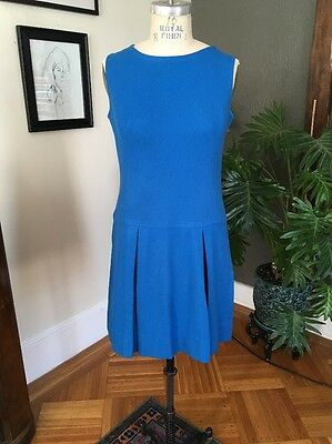 Vintage 1960s Blue Wool Shift Dress, Mod Style - Tennis Skirt, Brady Bunch