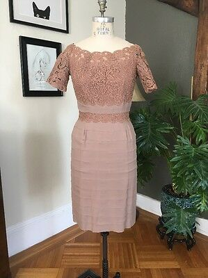 Vintage 1950s Silk Chiffon, Lace Cocktail Dress - Beautiful, Taupe, Cap Sleeve