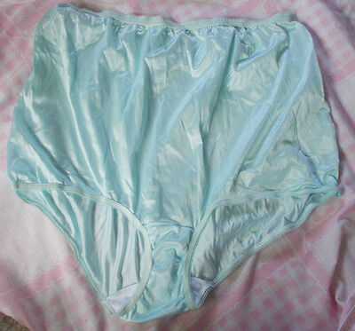 Vintage Lady Manhattan Baby Blue Shiny Panties size 12 Made in USA 100% Nylon