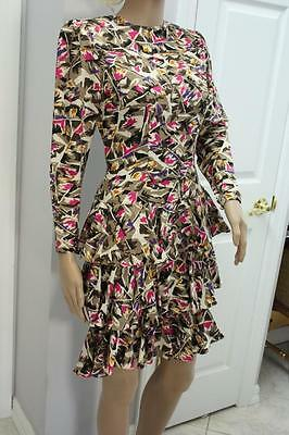 Vintage 80s Silk Dress Tiered Skirt Shoulder Pads 1980s