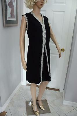 Vintage 60s Black Mod Mini Dress Silver Pearl Trim