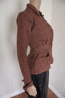 Vintage 40s R & K Original Wool Jacket Wasp Waist Red Black White