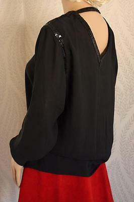 Vintage 70s Oscar de la Renta Sport Black Top Blouse Sequin Trim Excel Shirt