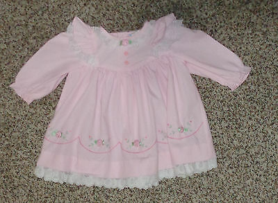 Baby Girls Vintage Pink Floral Dress White Lace Long Sleeves 6-9 Months EUC