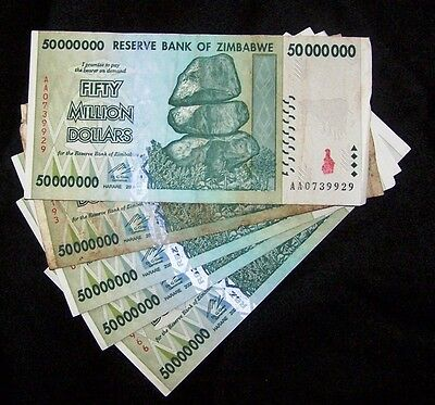5 x Zimbabwe 50 Million Dollar Banknotes-paper money currency