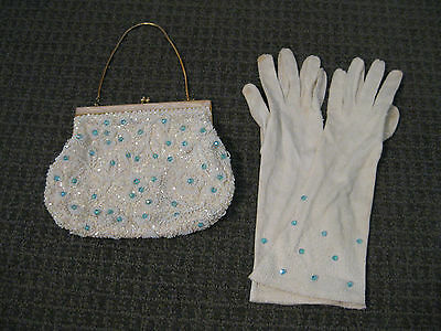 Vintage 1950s Women's Purse & Gloves-Beaded-Gold Clasp with Pearl Inlay-EX/EX+
