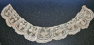 Fine Antique Hand Made Victorian Delicate Net Lace Child's Collar Floral Motif