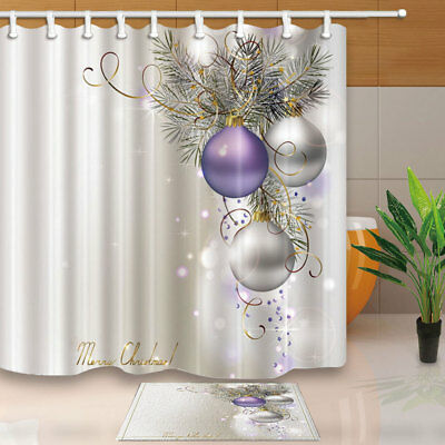 Merry Christmas Balls And Ribbons Shower Curtain Polyester Bathroom 12hooks