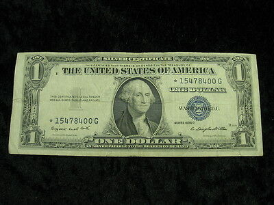 1 old note lot UNITED STATES $1 dollar Silver Certificate Star Note 1935 G 400