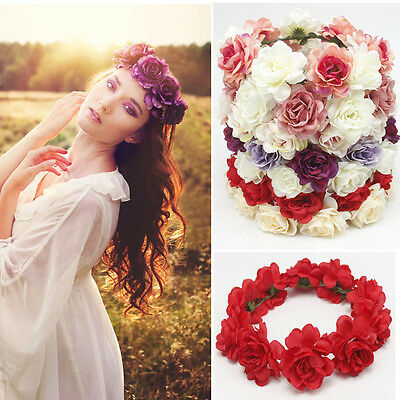 Fashion Women Wedding Flower Hair Garland Crown Headband Floral Wreath Hairband
