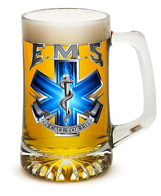 Emergency Medical Services EMS 25 Ounce Beer Mug Tankard Glasses- 2 Pc Set