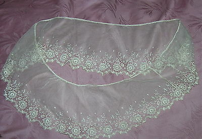 Fine Antique Hand Made Net & Lace Flounce Linen Heavily Outlined Cordonnet