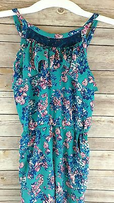 W Girl Nordstrom Girls Romper Sleevless Teal Floral Print Size 7/8 NWT