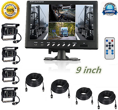 "9""Quad Monitor Truck Reversing Security SYSTEM 4x 4Pin CMOS Camera Fast shipping"