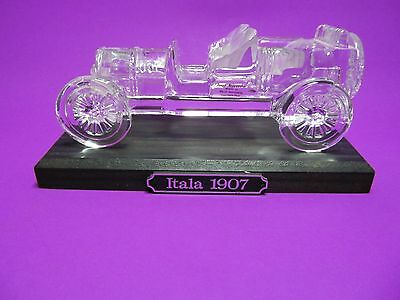 Hofbauer 1907 Italia Crystal Glass Car Paperweight With Wood Base