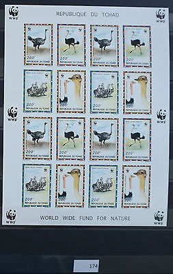 S0 0174 WWF Animals Chad MNH 1996 Ostrich, birds SC#693 Imperforated