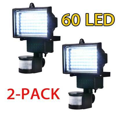 2 x 60 LED Motion Sensor Solar Powered Outdoor Garden Security Flood Light Lamp