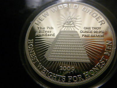 NEW WORLD ORDER 2009 1oz 1 TROY OUNCE FINE SILVER 99.9 COIN BULLION FIRST STRIKE