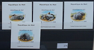 S0 0274 WWF Animals Mali MNH 1998 African porcupine Delux Imperf