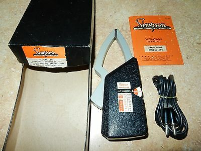 Vintage Simpson Model 150 Clamp-On Ac Ammeter Adapter W/orig Box+Instructions