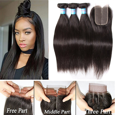 """Peruvian Straight Human Hair 3 Bundles With 4""""X4"""" Lace Closure Hair Extensions"""