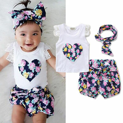 Toddler Kids Baby Girls Outfits Clothes T-shirt Tops+Floral Short Pant 3PCS Sets