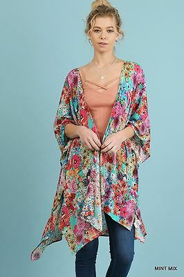 Umgee Floral Botanical Mint Kimono Shrug Cardigan Beach Coverup S M L