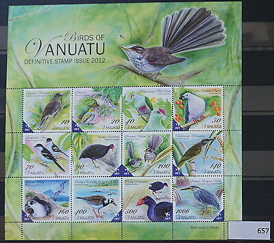 S0 0657 Birds Oiseau Vogel Vanuatu MNH 2012 Set of Definitives