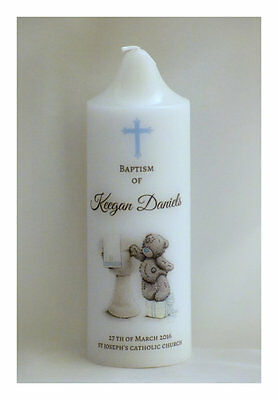 Personalised Baptism, Christening, Naming day candle - wreath (15cm x 5cm)