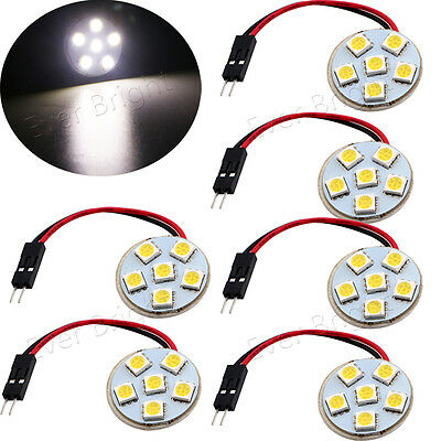 6X White 6SMD 5050 LED Interior Round Dome Panel Light T10+BA9S+Festoon Adapters